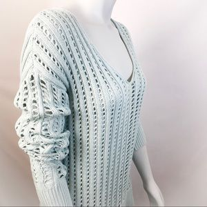 CALVIN KLEIN Mint Green Low-Neck Knitted Sweater